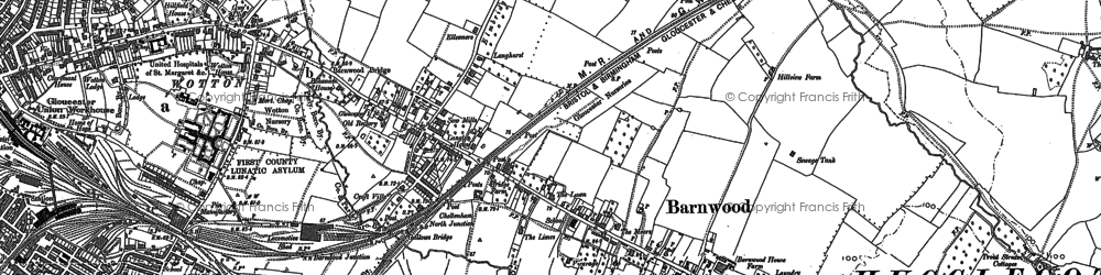 Old map of Barnwood in 1883