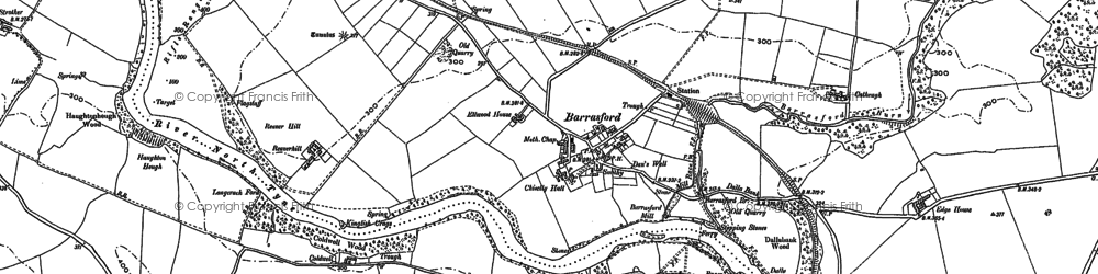 Old map of Barrasford in 1896