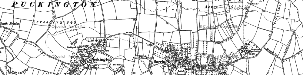 Old map of Barrington in 1886