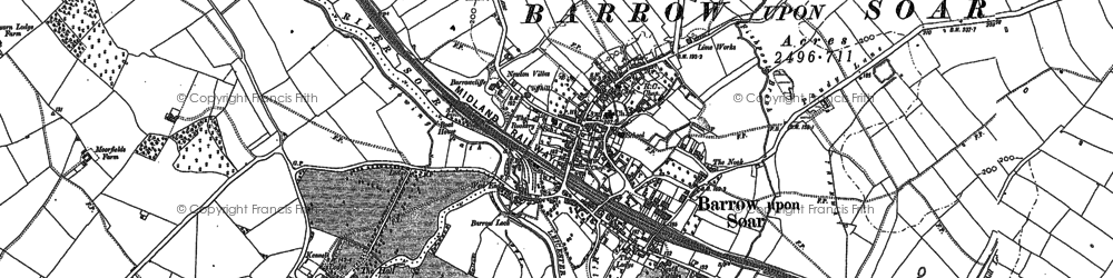 Old map of Barrow upon Soar in 1883