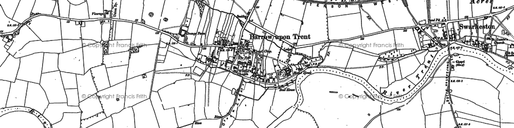 Old map of Barrow upon Trent in 1881