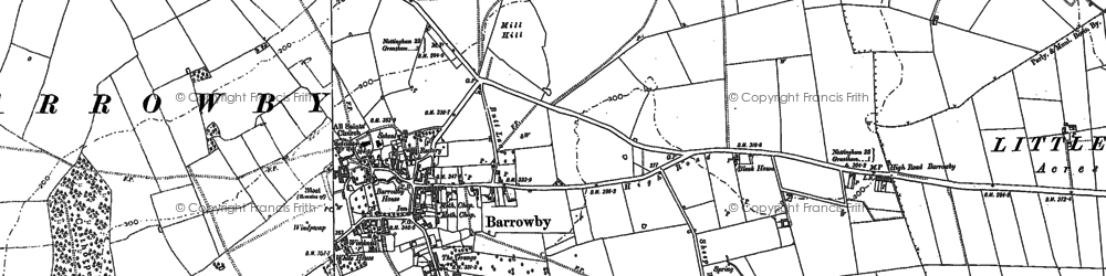 Old map of Barrowby in 1886