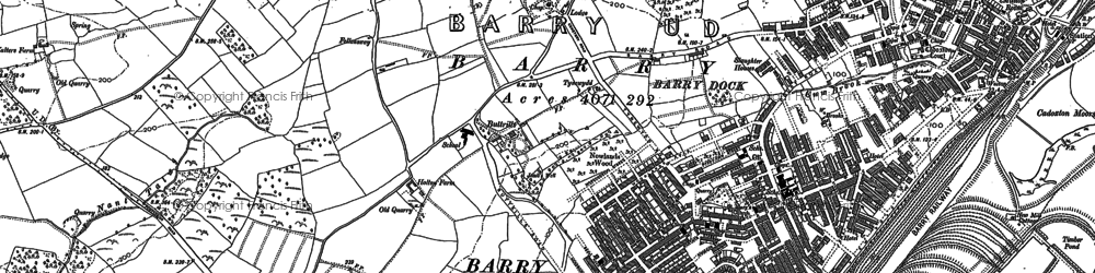 Old map of Barry Dock in 1898