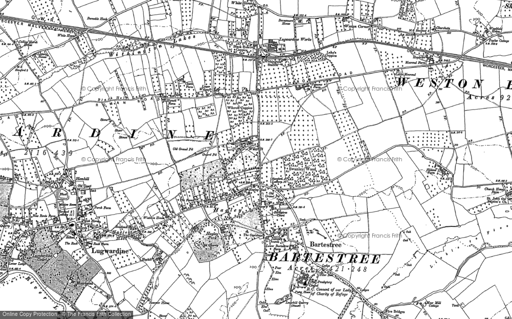 Old Map of Bartestree, 1886 in 1886
