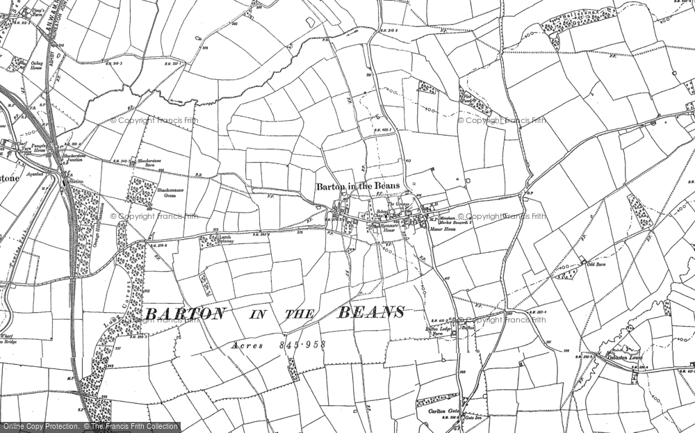 Old Map of Barton in the Beans, 1885 in 1885
