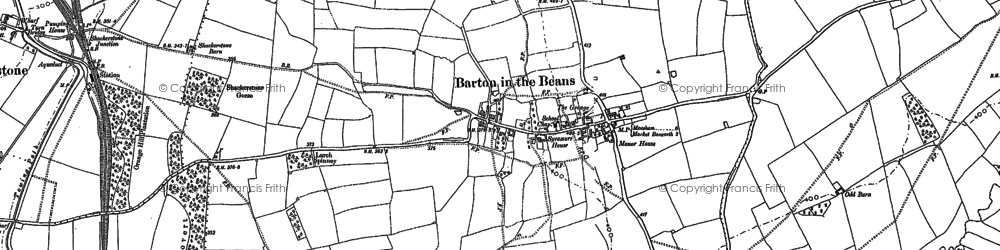 Old map of Barton in the Beans in 1885