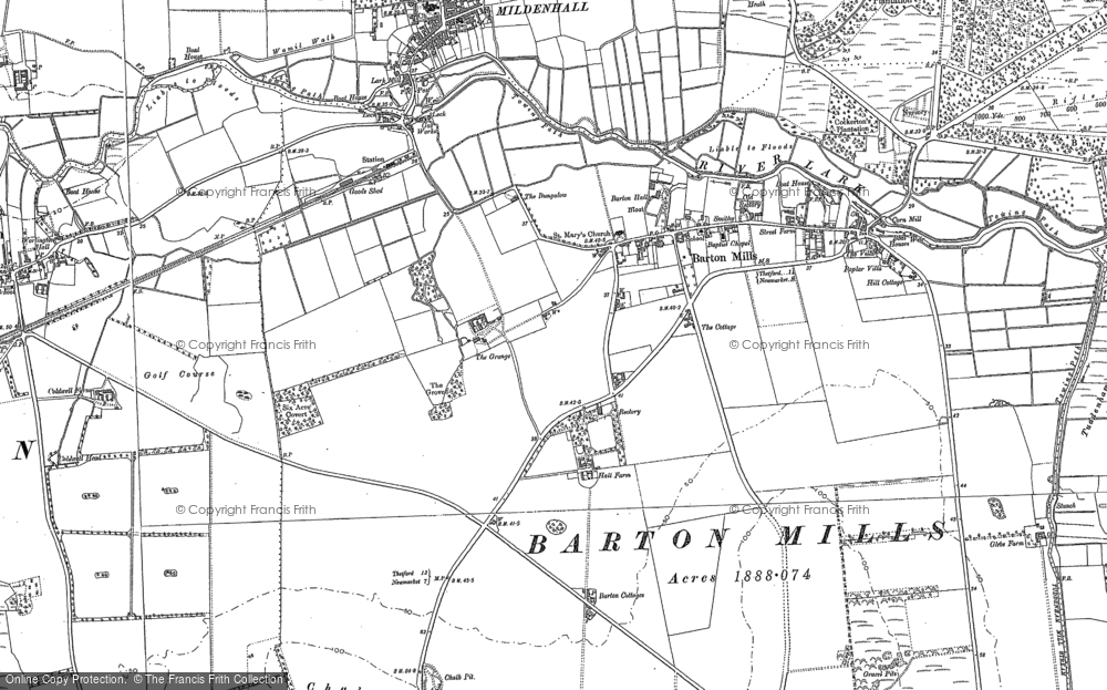 Old Map of Barton Mills, 1882 - 1901 in 1882