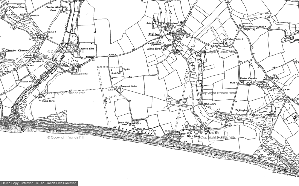 Barton On Sea. Old map of Barton On Sea