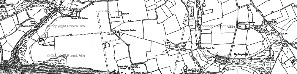 Old map of Barton on Sea in 1907