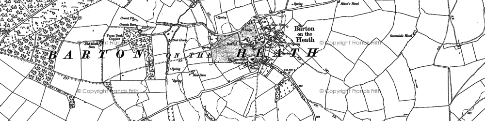 Old map of Barton-on-the-Heath in 1898