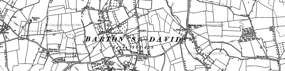 Old map of Barton St David in 1885