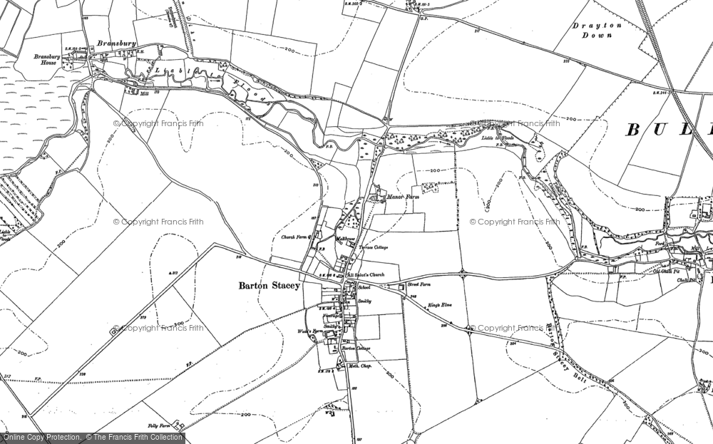 Map Of Barton Stacey 1894