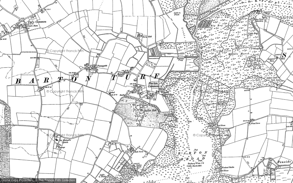 Old Map of Barton Turf, 1884 - 1905 in 1884
