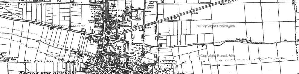 Old map of Barton Waterside in 1886