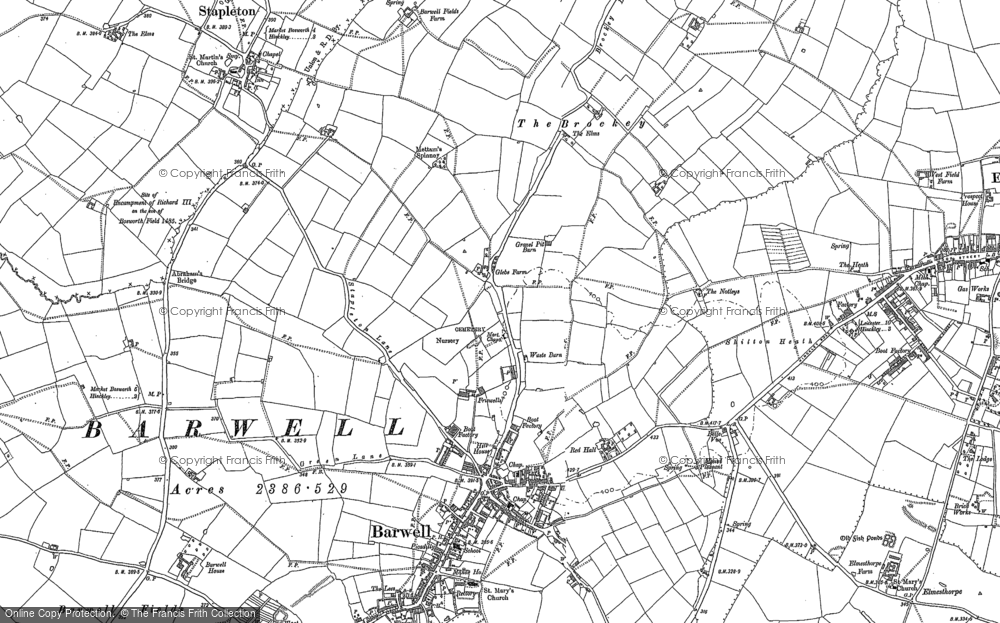 Old Map of Historic Map covering Abraham's Br in 1886