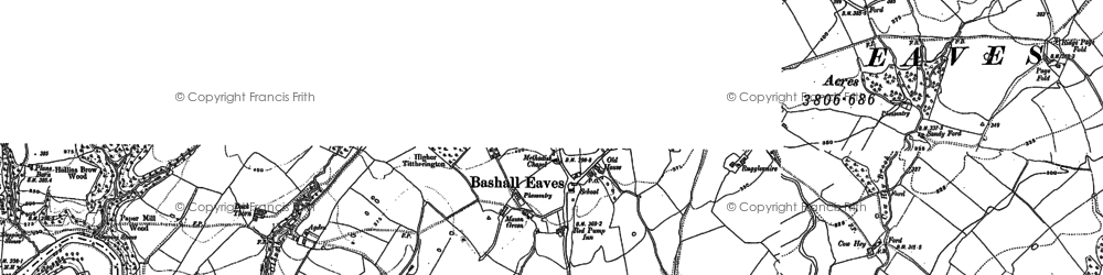 Old map of Bashall Eaves in 1907