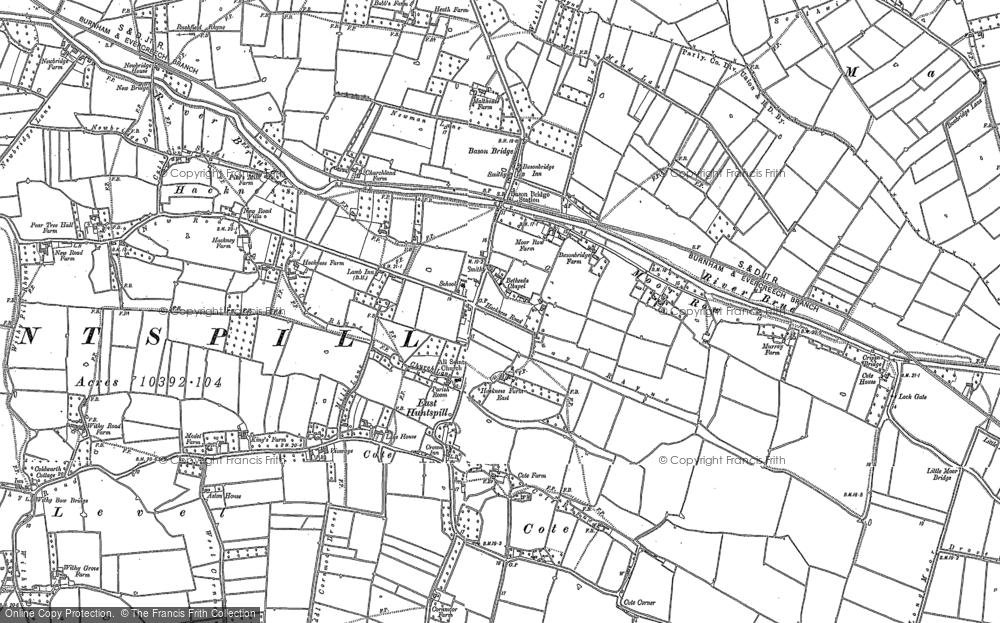 Old Map of Bason Bridge, 1884 - 1885 in 1884