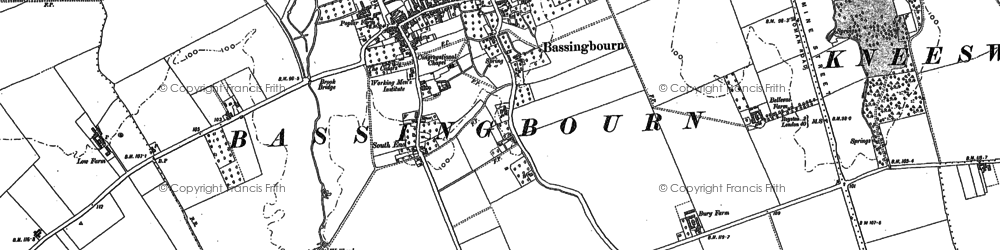 Old map of Bassingbourn in 1885