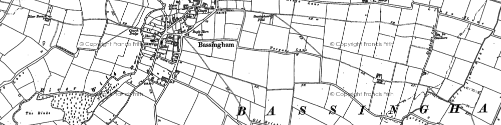 Old map of Bassingham in 1886