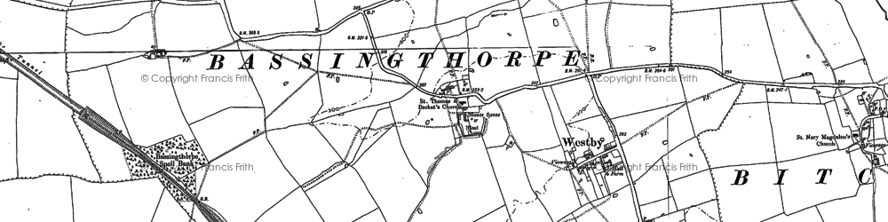 Old map of Bassingthorpe in 1887