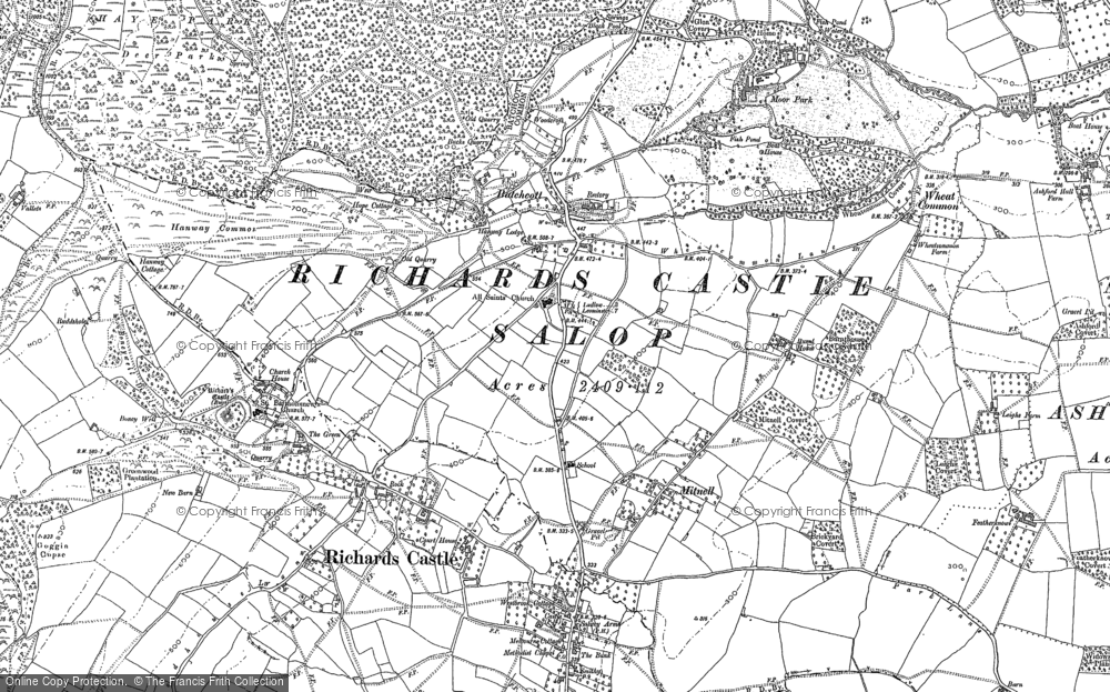 Old Map of Historic Map covering Woodcroft in 1884