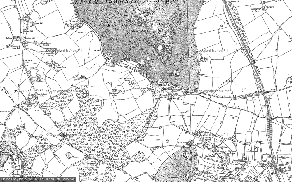 Old Map of Historic Map covering Woodcock Hill in 1894