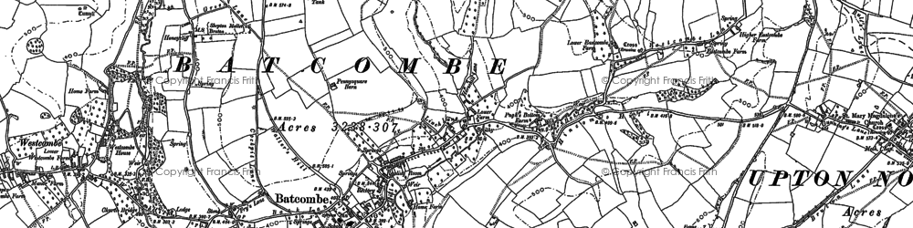 Old map of Batcombe in 1884
