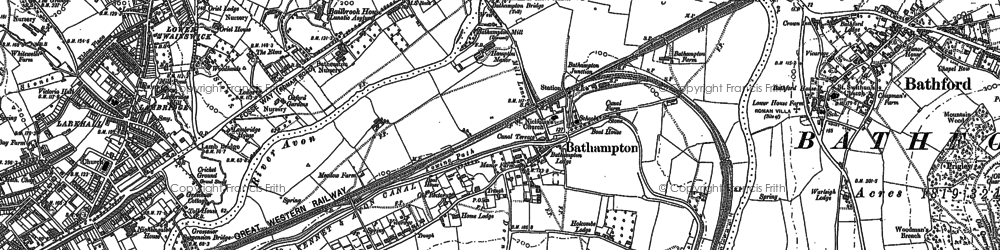 Old map of Bathampton in 1902