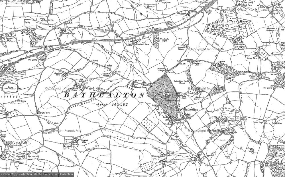 Old Map of Bathealton, 1887 - 1903 in 1887