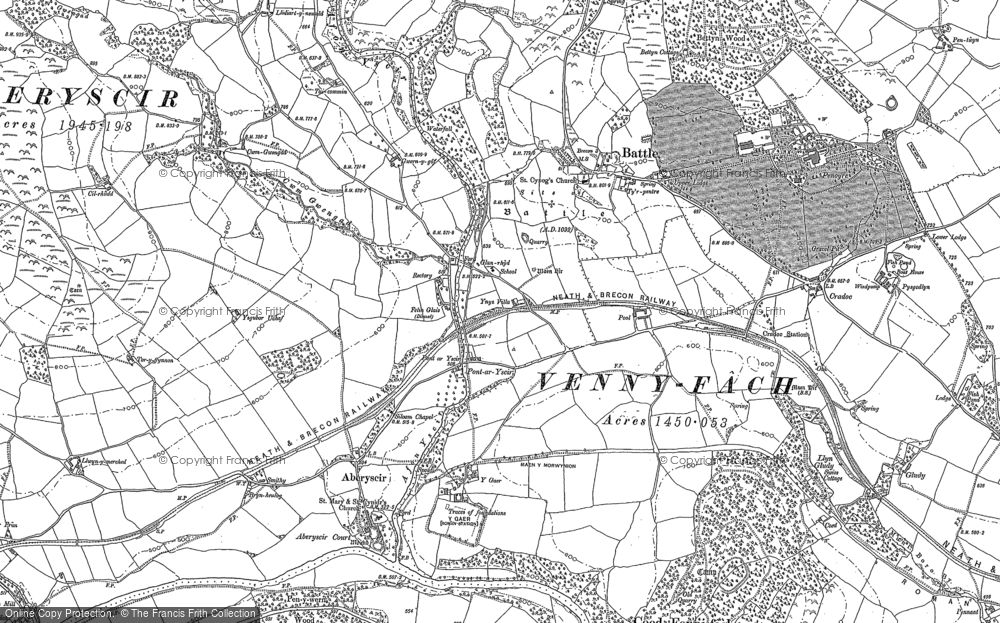 Old Map of Historic Map covering Afon Ysgir in 1886