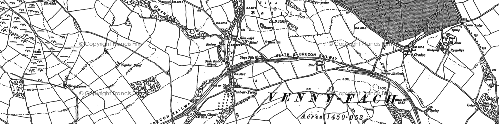 Old map of Afon Ysgir in 1886