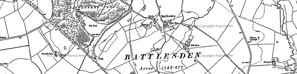 Old map of Battlesden in 1881