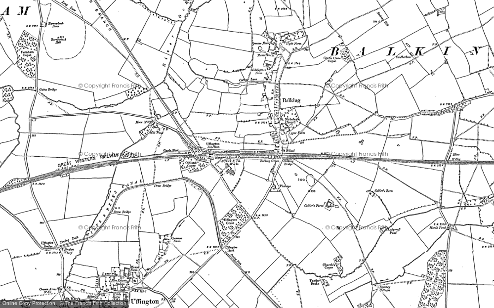 Old Map of Baulking, 1898 in 1898