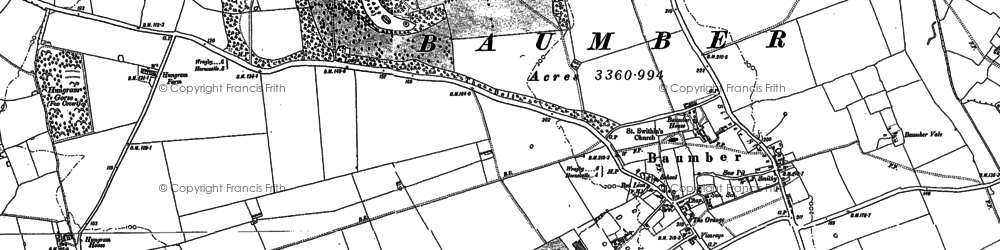 Old map of Baumber in 1886