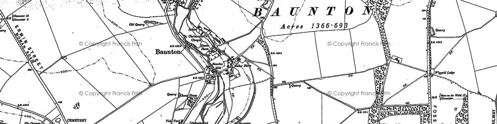 Old map of Baunton in 1875