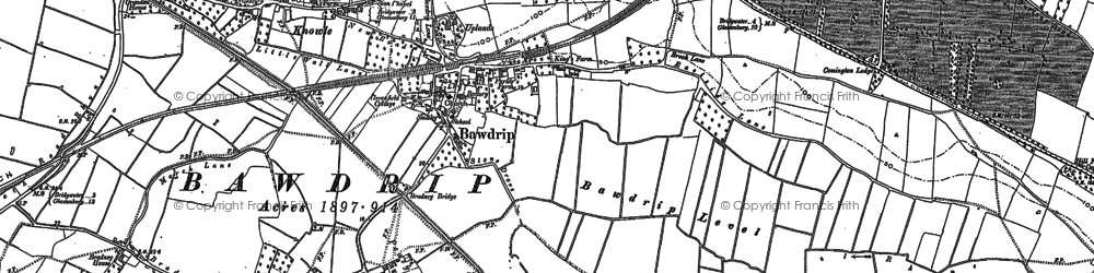 Old map of Bawdrip in 1885