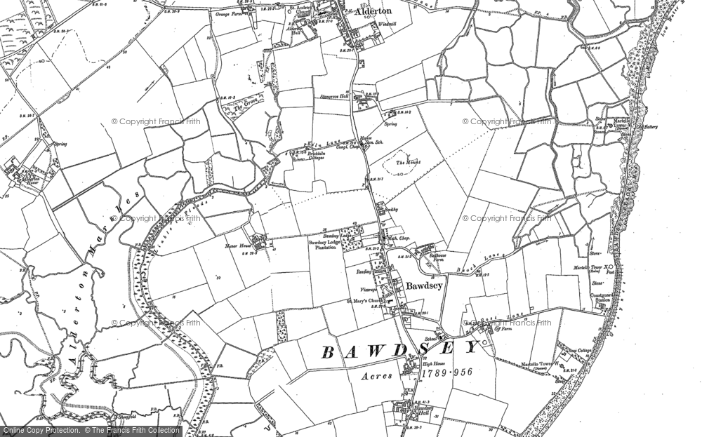 Old Map of Historic Map covering Alderton Ho in 1902