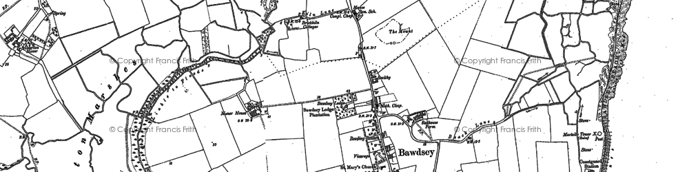 Old map of Bawdsey in 1902