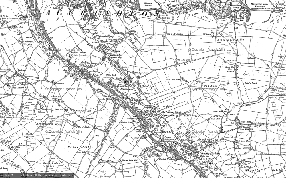 Old Map of Historic Map covering Woodnook in 1891