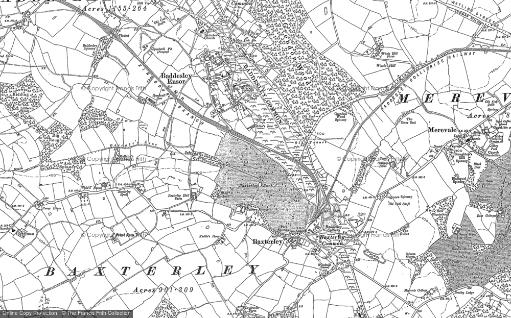 Old Map of Historic Map covering Baddesley Common in 1887