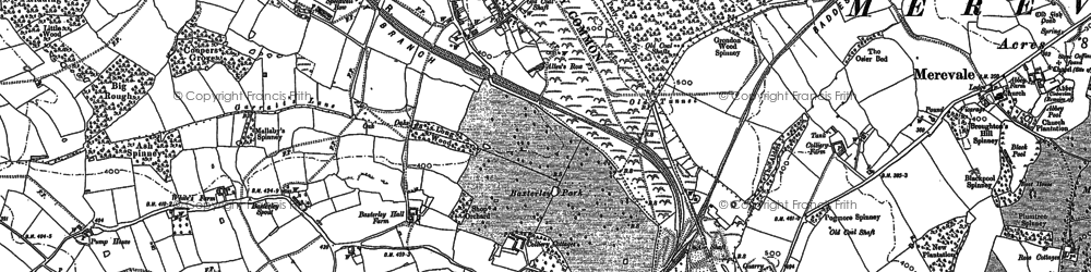 Old map of Wigston Hill in 1887