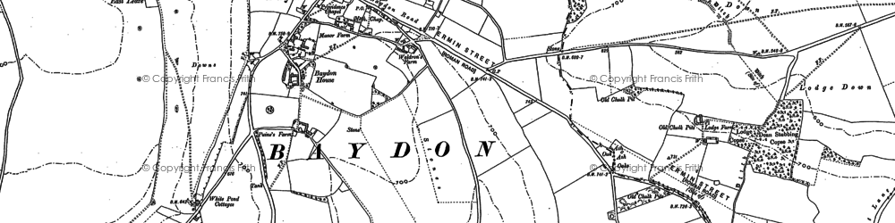 Old map of Baydon in 1899