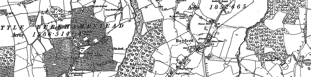 Old map of Bayford in 1896
