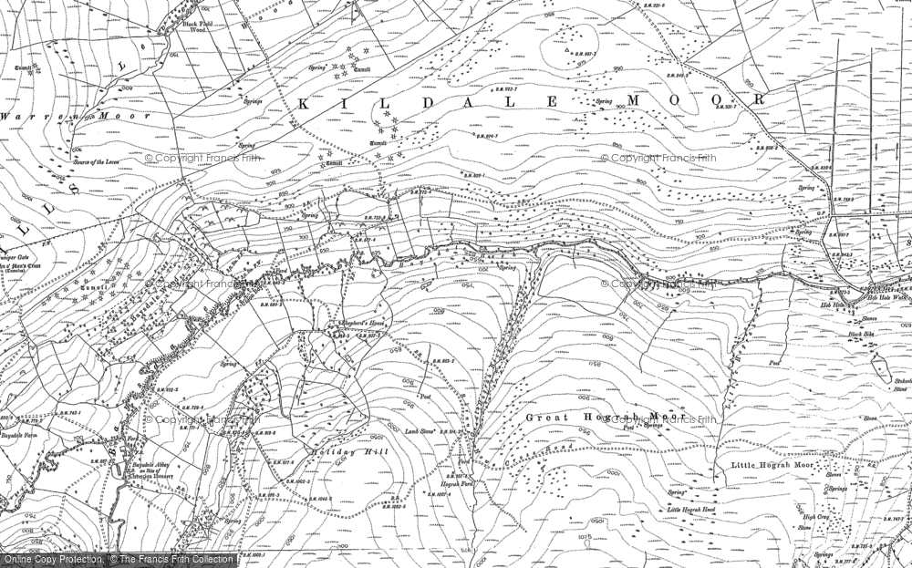 Old Map of Baysdale, 1893 in 1893