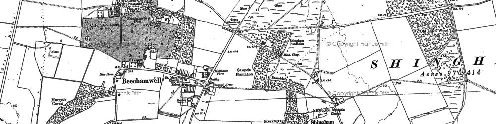 Old map of Beachamwell in 1883