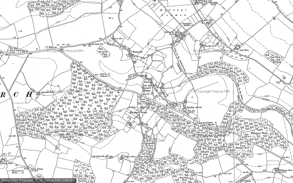 Old Map of Beacon's Bottom, 1897 in 1897