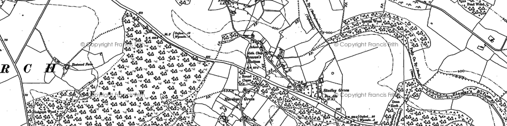 Old map of Beacon's Bottom in 1897