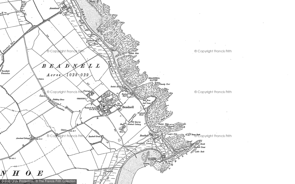 Old Map of Beadnell, 1896 - 1897 in 1896