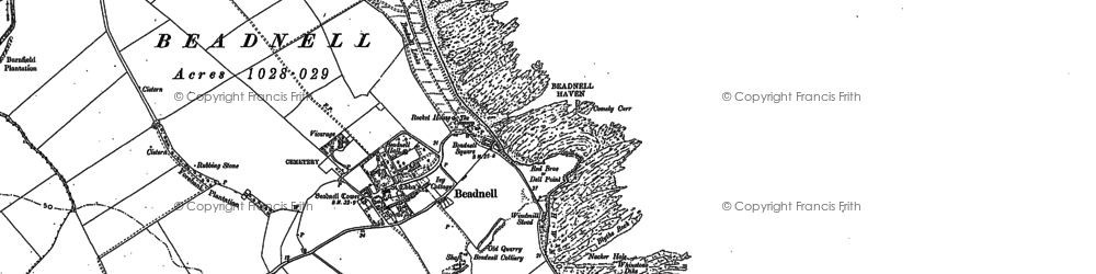 Old map of Beadnell in 1896