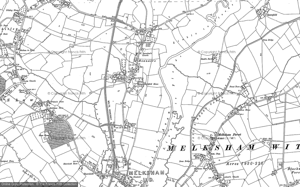 Old Map of Beanacre, 1899 in 1899